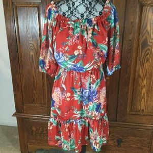 Ava & Viv Red & Blue Tropical Print Peasant Dress